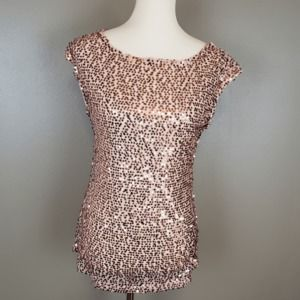 The Limited Rose Gold Sequin Cap Sleeve Top Size S